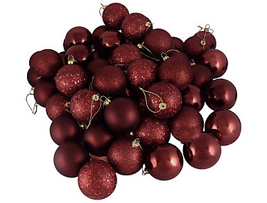 "Burgundy Shatterproof 4 Finish 2.5"" Bulb Ornaments -         Set of 26, , large"