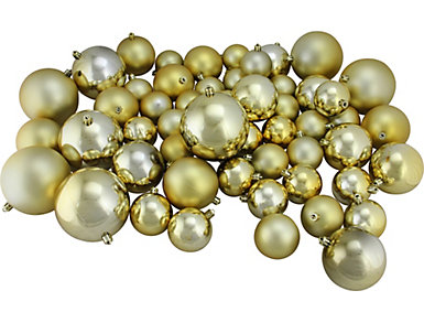 Gold Shatterproof Bulb Ornaments in Assorted Sizes - Set     of 50, , large