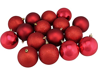 "Red Shatterproof 4-Finish 3"" Bulb Ornaments - Set of 16, , large"