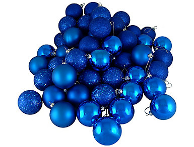 "Blue Shatterproof 4-Finish 3"" Bulb Ornaments - Set of 16, , large"