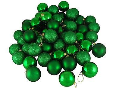 """Green Shatterproof 4 Finish 2.5"""" Bulb Ornaments -            Set of 24, , large"""