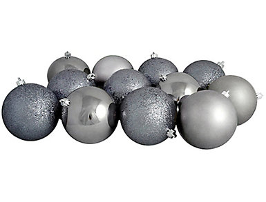 "Gunmetal Grey Shatterproof 4-Finish 3"" Bulb Ornaments -      Set of 16, , large"