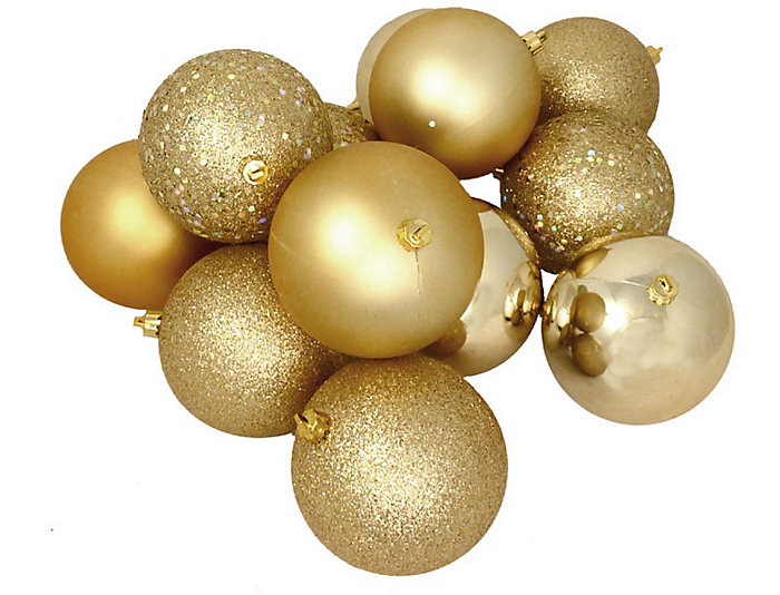 "Gold Shatterproof 4-Finish 3"" Bulb Ornaments - Set of        16, , large"