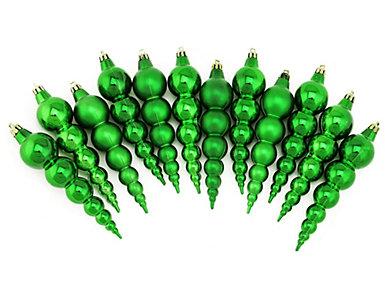 "6"" Green Finial Shatterproof Ornaments - Set of 12, , large"