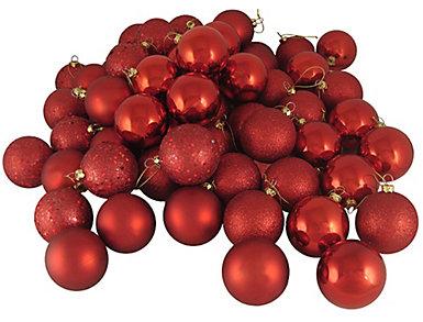 "Red Shatterproof 4 Finish 2.5"" Bulb Ornaments - Set of       24, , large"