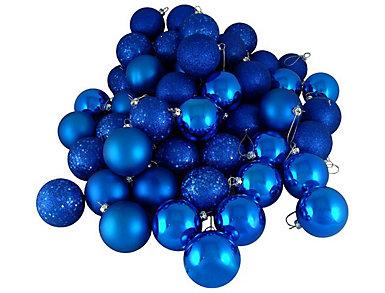 "Blue Shatterproof 4 Finish 2.5"" Bulb Ornaments - Set         of 24, , large"