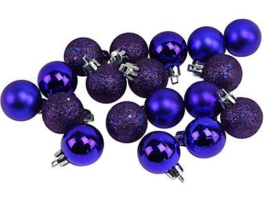 "Dark Blue Shatterproof 4-Finish 1.25"" Bulb Ornaments -       Set of 18, , large"