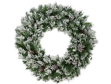 """36"""" Unlit Flocked Angel Pine Artificial Wreath with Pine     Cones, , large"""