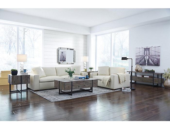 Genuine Leather Zane Sofa, Cream, , large