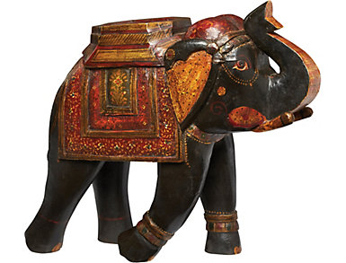 Nigel B Carved Wooden Elephant, , large