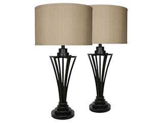 Bronze Pair of Table Lamps, , large