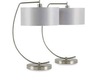 Pair of Nickel Arc Table Lamps, , large