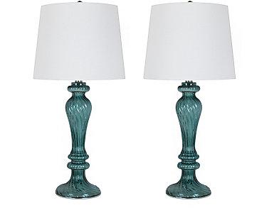 Iris Turq Glass Lamp Set of 2, , large