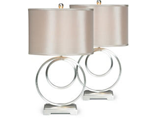 Circle Pair of Table Lamps, , large