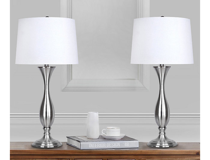 Pair of Brushed Nickel Lamps, , large