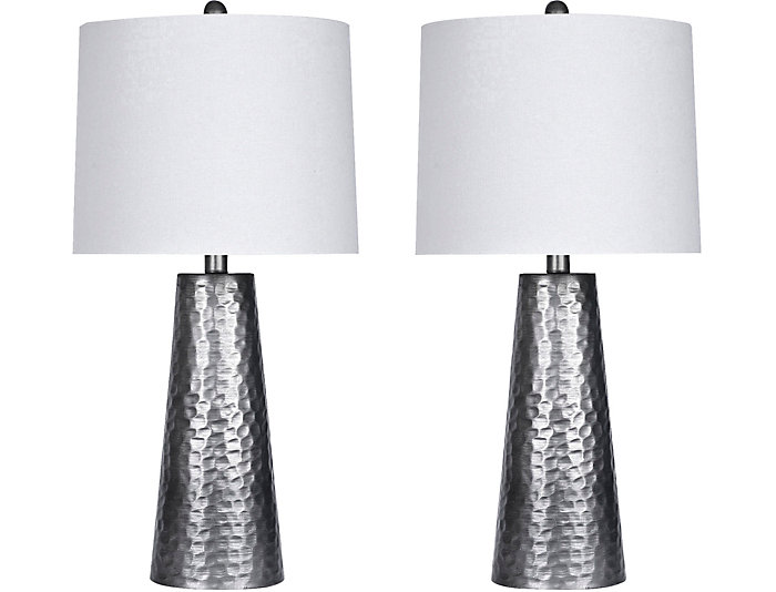 Pair of Hammered Metal Lamps, , large