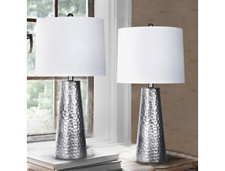 Hammered Metal Lamp 2 Piece Set, , large
