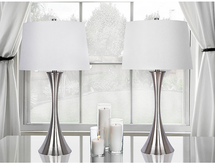 Pair of Nickel Table Lamps, , large