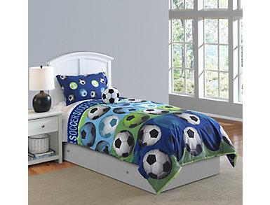 Soccer 4 Piece Full Comforter Set, , large