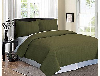 Ashton Green 3pc Quilt Set F/Q, , large