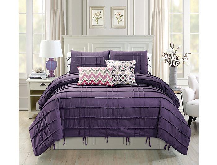 Textured 5Pc Queen Comforter, , large