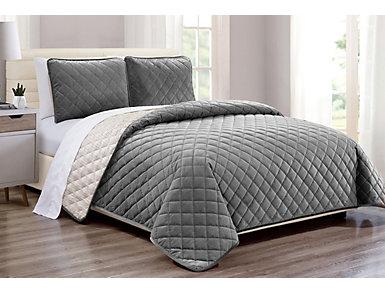 Grey 3pc F/Q Velvet Cover Set, , large