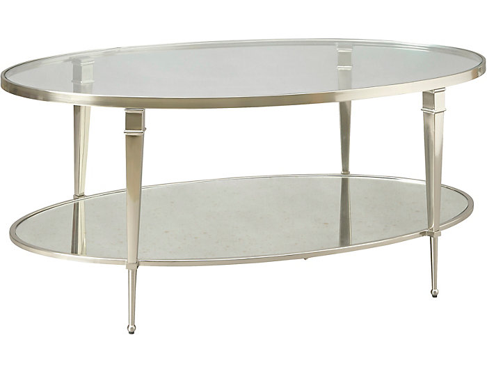 Mallory Satin Nickel Oval Coffee Table