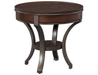 Sunset Valley Round End Table, Brown, , large