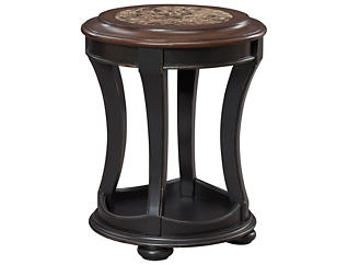 Dorset Round End Table, Black, , large