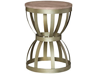 Modern Theory Round End Table, Brown, , large