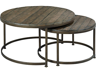 Leone Round Nesting Coffee Table, Brown, , large