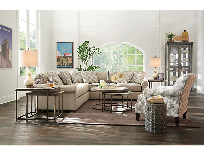 Leone Brown Round Nesting Coffee Table, , large
