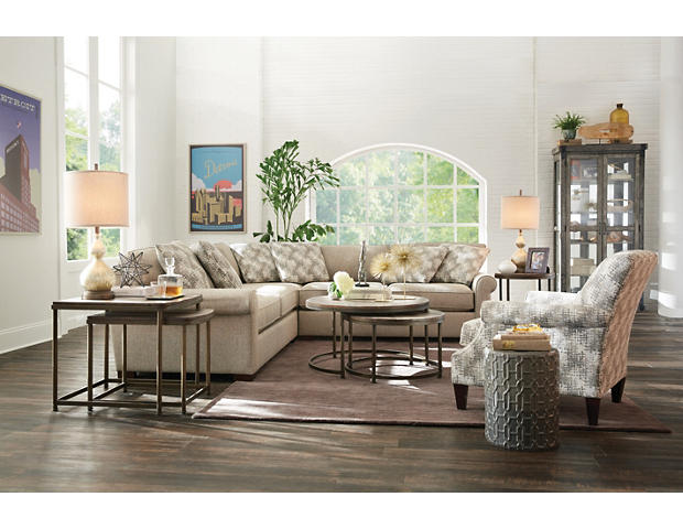 Leone Brown Round Nesting Coffee Table