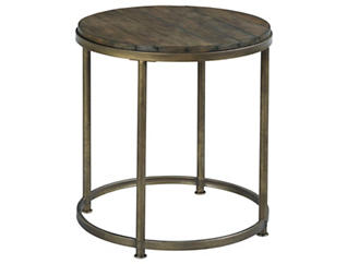 Leone Round End Table, Brown, , large