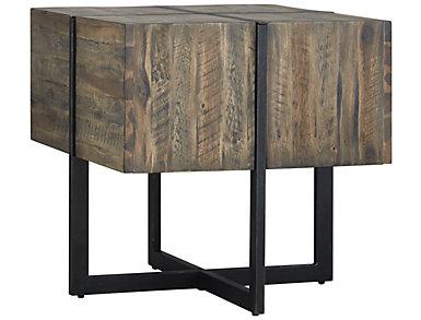 Modern Timber Rectangular End Table, Brown, , large