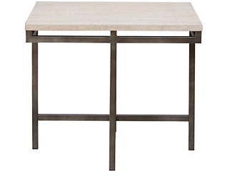 East Park Travertine Rectangular End Table, , large