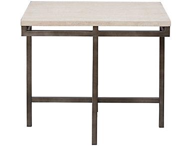 East Park Travertine Rectangular End Table, , large