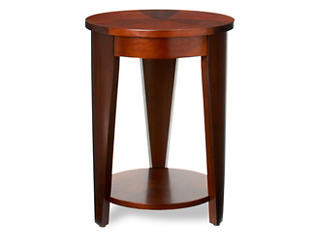 Round Chairside Table, Medium Brown, , large