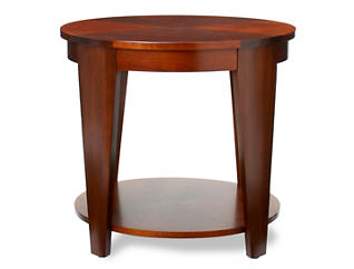 Oval End Table, Medium Brown, , large