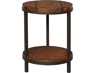 Round End Table, Brown, , large