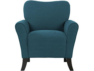 Allegany Blue Linen Chair, Blue, large