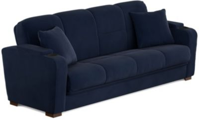 Lee Velvet Sofa Bed, Blue, swatch