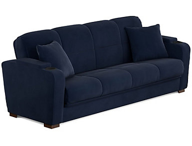 Lee Navy Blue Velvet Sofa Bed, Blue, large