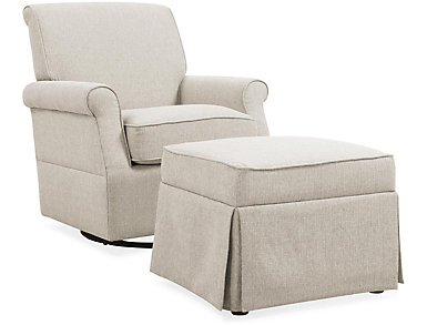 Kent Ivory Swivel Glider And Ottoman, , large