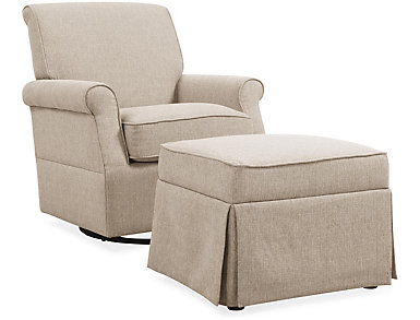 Kent Beige Swivel Glider And Ottoman, , large