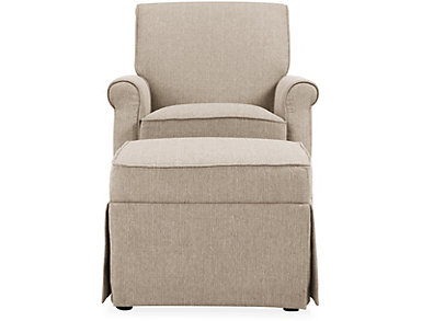 Kent Beige Swivel Glider And Ottoman, Beige, large