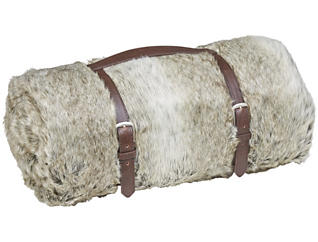 Acoma Grey Brown Fur Throw, , large