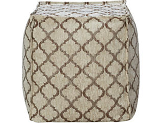 Gold Moroccan Print Square Pouf, , large