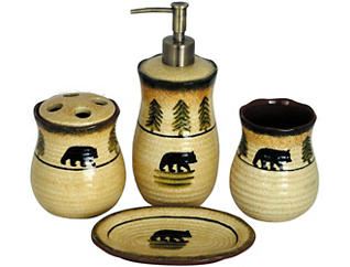 4PC Bear Bathroom Set, , large
