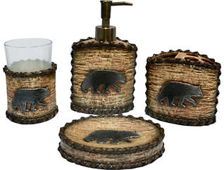 Rustic Bear 4PC Bath Set, , large
